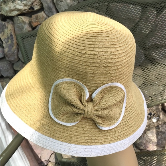 6978d6640 Vintage 50s Summer Straw Hat with Bow
